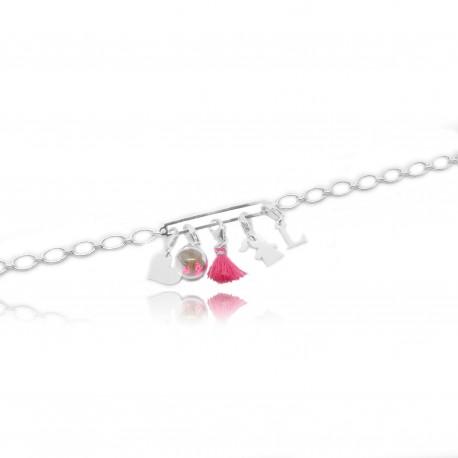 Bracelet chaîne avec rectangle pour y accrocher vos charms