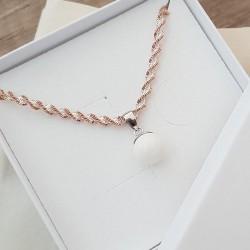 Collier torsade rose avec pendentif simple et perle contenant votre lait maternel C22
