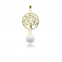 Collier avec pendentif arbre de vie en plaqué or et perle contenant votre lait maternel C05