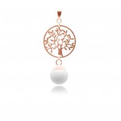 Collier avec pendentif arbre de vie en plaqué or rose et perle contenant votre lait maternel C05
