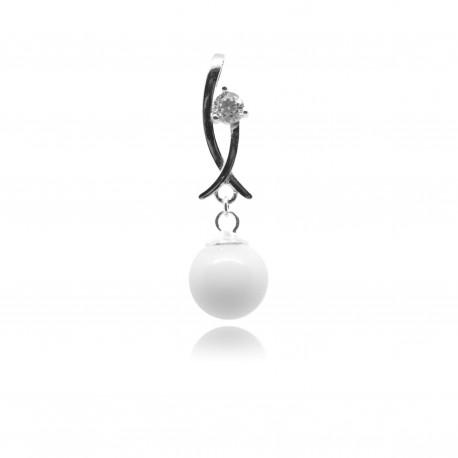 Collier avec pendentif moderne, oxyde de zirconium et perle contenant votre lait maternel C11