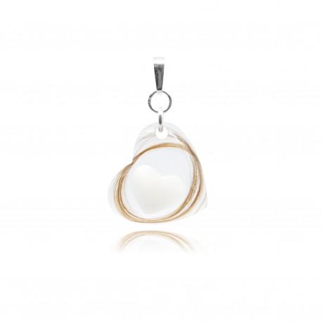 Collier avec coeur transparent et petite forme contenant votre lait maternel C14