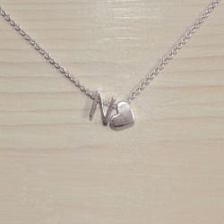 Collier coeur avec vos lettres, en argent 925/1000e