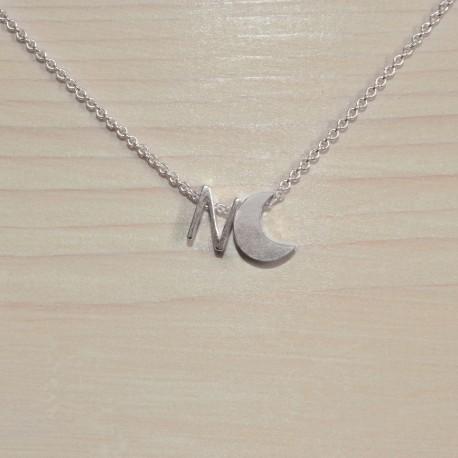 Collier lune avec vos lettres, en argent 925/1000e