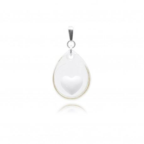 Collier avec goutte transparente et petite forme contenant votre lait maternel C15