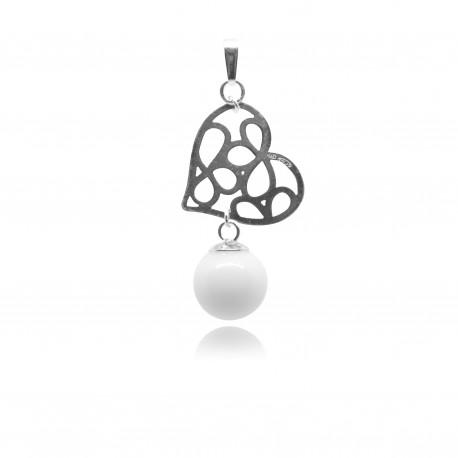 Collier avec pendentif petit coeur ajouré et perle contenant votre lait maternel C16