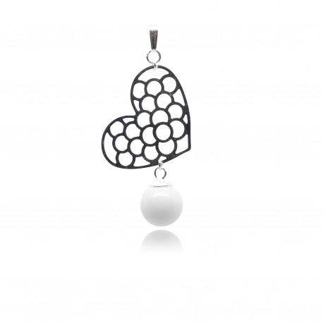 Collier avec pendentif gros coeur ajouré et perle contenant votre lait maternel C17