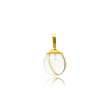 Collier simple en plaqué or contenant contenant vos mèches de cheveux CM24