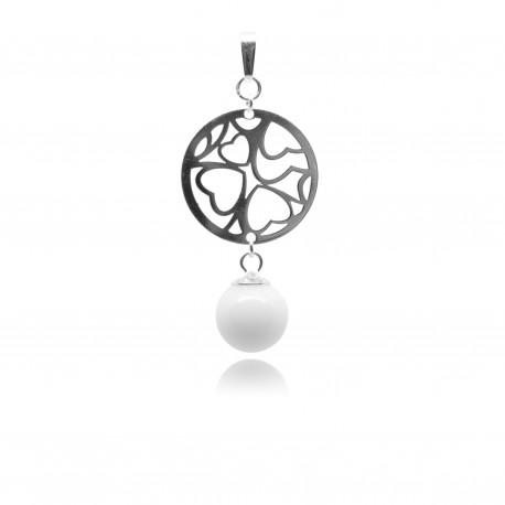 Collier avec pendentif rond avec coeurs ajourés et perle contenant votre lait maternel C18