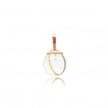 Collier simple en plaqué or rose contenant contenant vos mèches de cheveux CM24