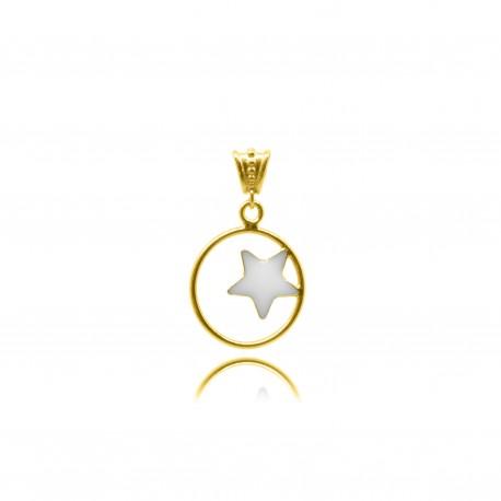 Collier avec étoile en plaqué or contenant votre lait maternel C28