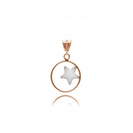 Collier avec étoile en plaqué or rose contenant votre lait maternel C28