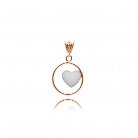 Collier avec coeur en plaqué or rose contenant votre lait maternel C29