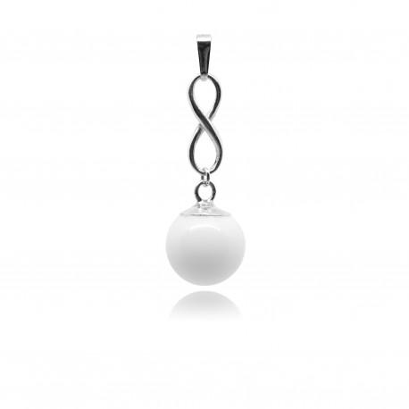 Collier avec pendentif infini et perle contenant votre lait maternel C19