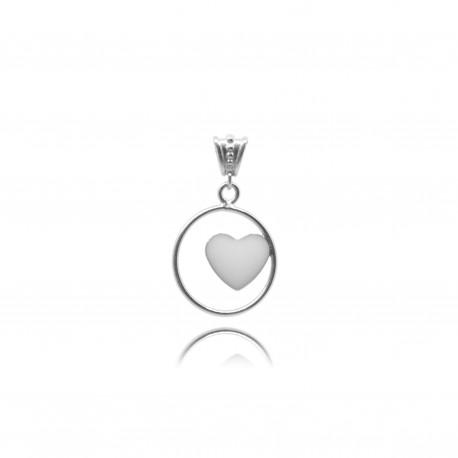 Collier avec coeur en argent contenant votre lait maternel C29