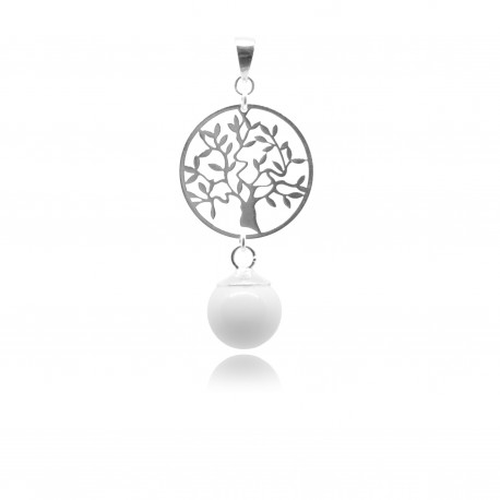 Pendentif arbre de vie et perle contenant votre lait maternel
