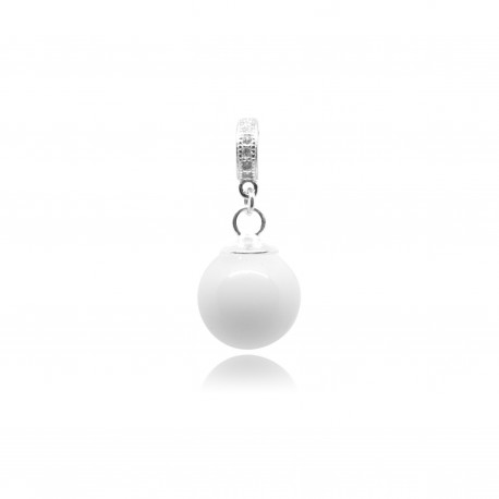 Pendentif anneau et zircons et perle contenant votre lait maternel