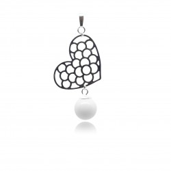 Pendentif gros coeur ajouré et perle contenant votre lait maternel P17