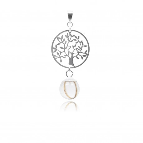 Collier avec pendentif arbre de vie et perle contenant vos mèches de cheveux