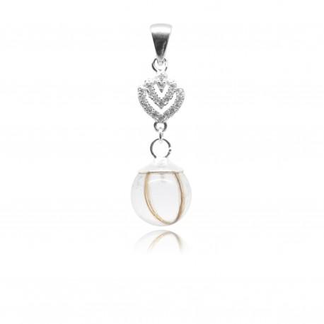Collier avec pendentif coeur, zirconiums et perle contenant vos mèches de cheveux