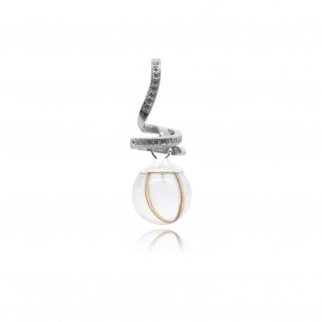 Collier avec pendentif spirale, strass et perle contenant vos mèches de cheveux