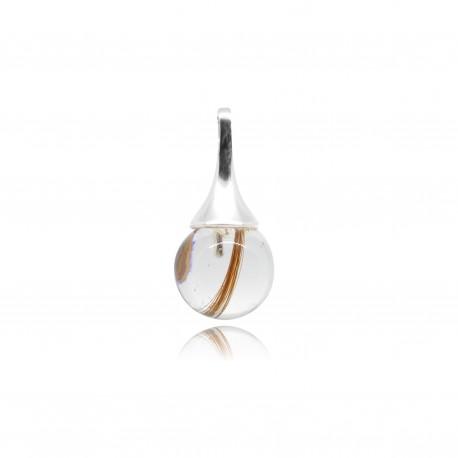 Collier avec pendentif fine goutte et perle contenant vos mèches de cheveux