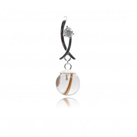 Collier avec pendentif moderne, oxyde de zirconium et perle contenant vos mèches de cheveux