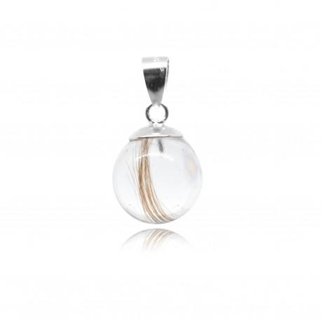 Collier avec pendentif simple et perle contenant vos mèches de cheveux