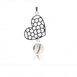 Collier avec pendentif gros coeur ajouré et perle contenant vos mèches de cheveux