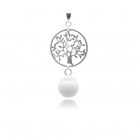 Collier avec pendentif arbre de vie et perle contenant votre lait maternel C05