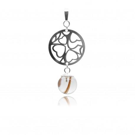 Collier avec pendentif rond avec coeurs ajourés et perle contenant vos mèches de cheveux