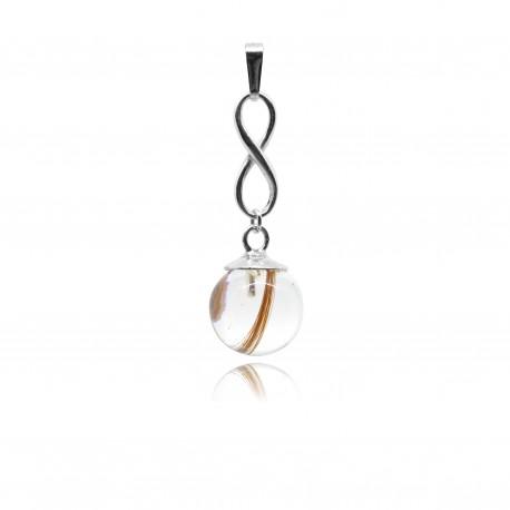 Collier avec pendentif infini et perle contenant vos mèches de cheveux