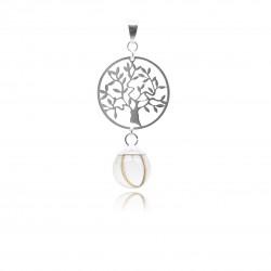 Pendentif avec pendentif arbre de vie et perle contenant vos mèches de cheveux
