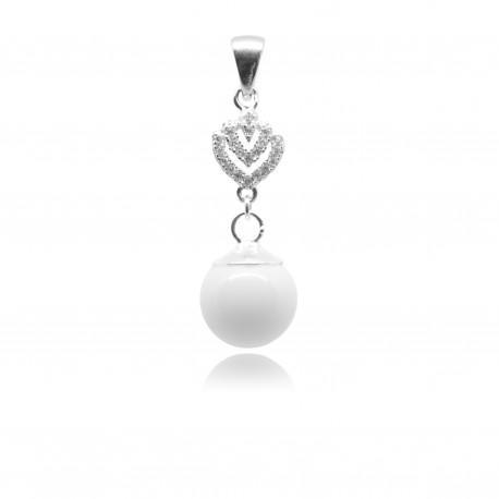 Collier avec pendentif coeur, zirconiums et perle contenant votre lait maternel C06