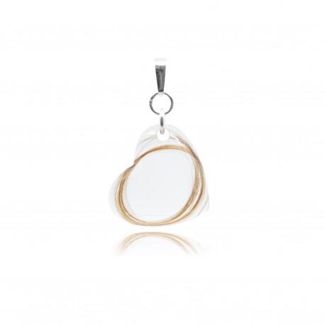 Pendentif avec perle de forme coeur/goutte ou anneau contenant vos mèches de cheveux