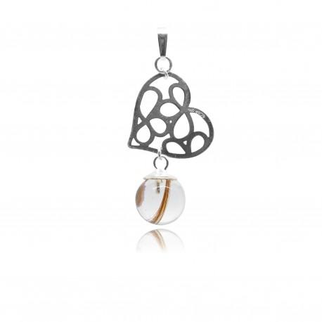 Pendentif avec pendentif petit coeur ajouré et perle contenant vos mèches de cheveux
