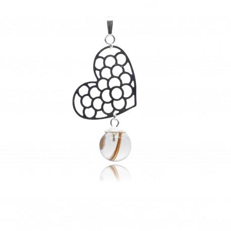 Pendentif avec pendentif gros coeur ajouré et perle contenant vos mèches de cheveux