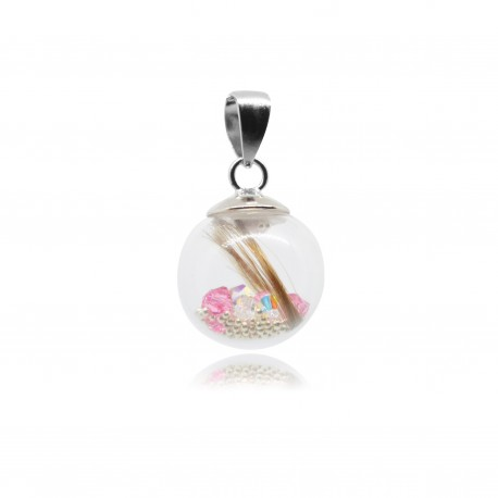 Collier avec pendentif simple strass/paillettes et perle contenant vos mèches de cheveux