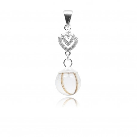 Collier avec pendentif coeur, zirconiums et perle contenant vos mèches