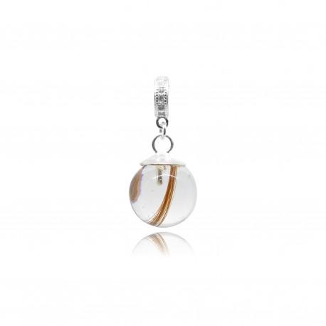 Collier avec pendentif anneau, zircons et perle contenant vos mèches