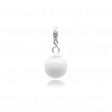 Collier avec pendentif anneau, zircons et perle contenant votre lait maternel C07