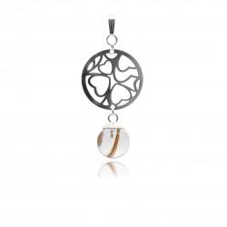 Collier avec pendentif rond avec coeurs ajourés et perle contenant vos mèches