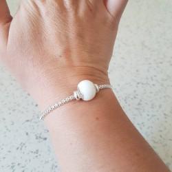 Bracelet réglable par fermoir coulissant et perle contenant votre lait maternel