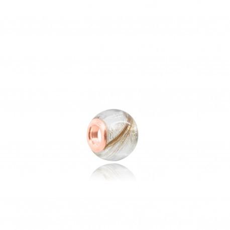 Perle adaptable Pandora en or rose contenant vos mèches de cheveux