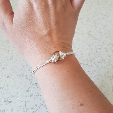 Bracelet réglable par fermoir coulissant et perle contenant vos mèches de cheveux