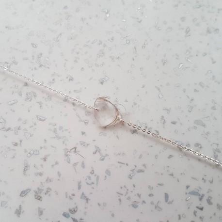 Bracelet réglable avec coeur contenant vos mèches de cheveux