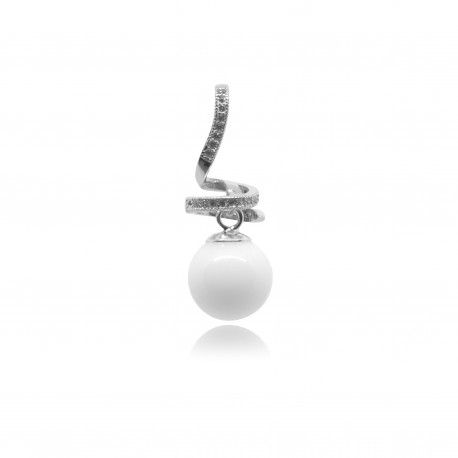Collier avec pendentif spirale, strass et perle contenant votre lait maternel C08